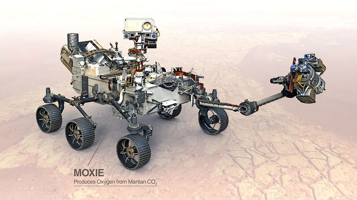 Illustration of the Perseverance rover with a label pointing to the location of MOXIE.