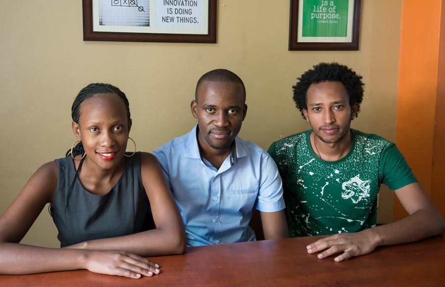 Mama-Ope Founders: Olivia Koburongo (left), Brian Turyabagye (center), Besufekad Shifferaw (right)