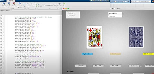Split-screen image, on the left is the MATLAB code for the Crazy 8s card game, which is shown on the right of the split-screen. The card game displays two cards, one face up – the Jack of Diamonds, and one face down, with various control buttons to play the game.