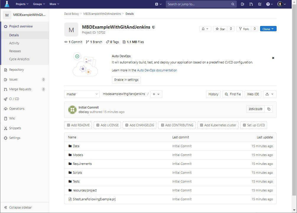 GitLab dashboard