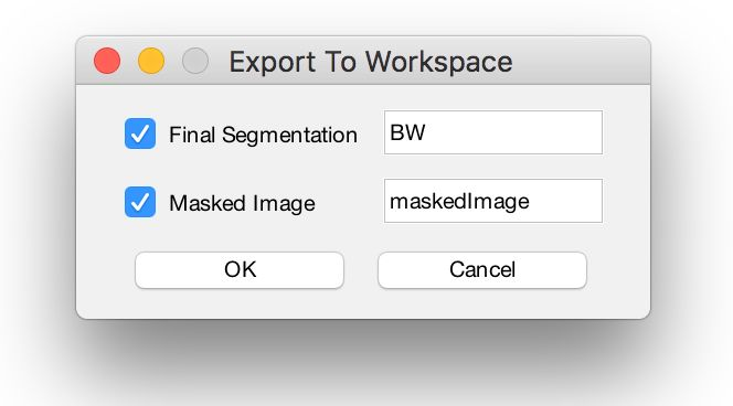 Figure 8. Using the export button in the Image Segmenter app to export the mask to the workspace.