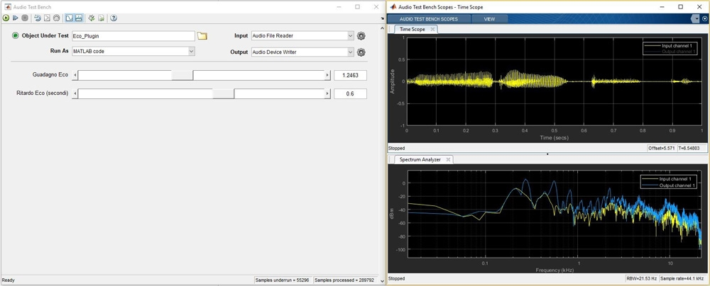 Using Audio System Toolbox to develop, test, and tune a plug-in that implements an echo effect