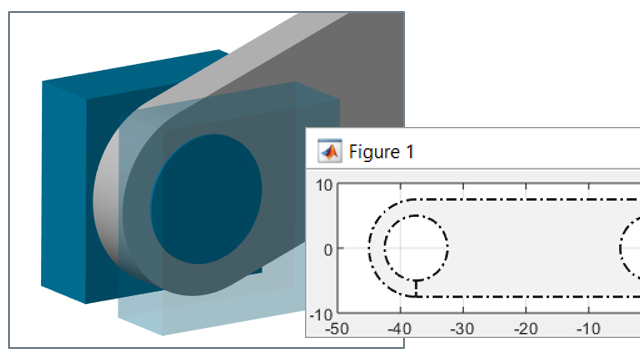 Define parts for multibody simulation. Combine standard solids and define extrusions using MATLAB.