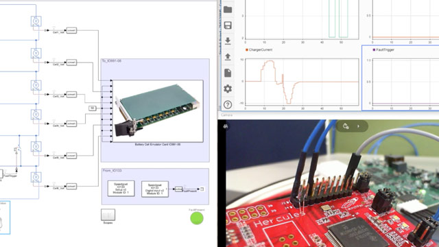 Dieses Video zeigt, wie man Simulink, Simscape, Simulink Real-Time und Speedgoat Echtzeitsysteme verwendet, um Batteriemanagement-Systeme mit Hardware-in-the-Loop (HIL)-Simulationen zu validieren und zu testen.