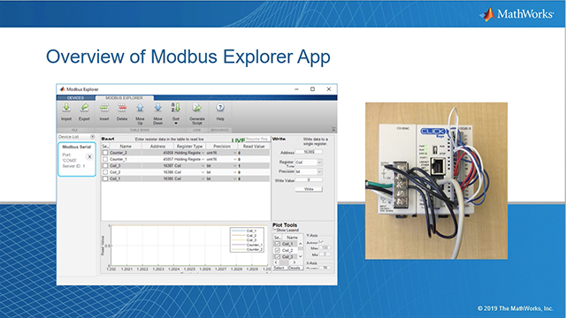 The Modbus Explorer App lets you read and write data to any Modbus device without writing MATLAB code. Configure Modbus communication, read and write to Modbus registers, view live plots of register data, and generate a MATLAB live script.