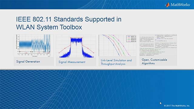 Model 802.11 wireless LAN standards in MATLAB with WLAN System Toolbox. This toolbox provides MATLAB functions for the design, modeling, simulation, analysis, and testing of these standards.