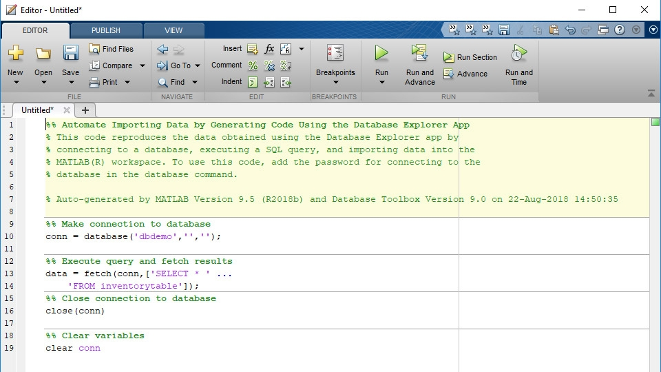 MATLAB code generated from the Database Explorer app