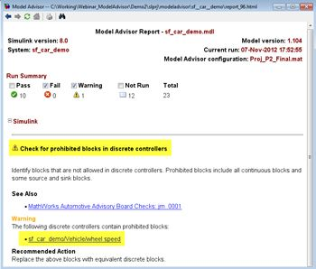 Figure 2. Model Advisor report with warning message.