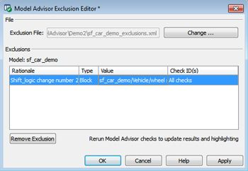 Figure 4. Model Advisor Exclusion Editor.