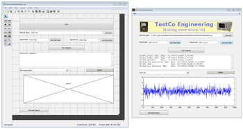 Figure 3: Left: Interface built using GUIDE. Right: The same interface running an application.