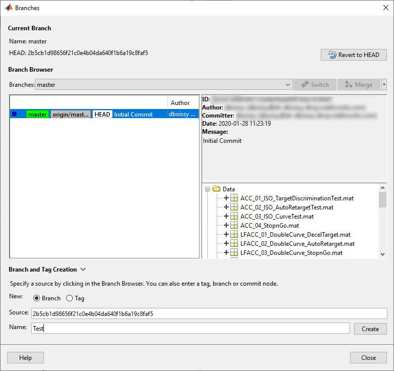 Select Branch and Tag Creation