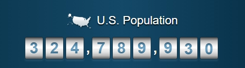 The Population Clock on April 1, 2017.