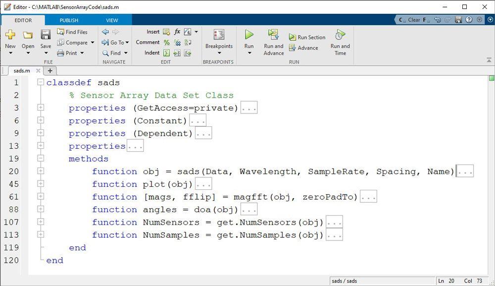 Abbildung 4. Klassendefinitionsdatei sads.m mit Methoden, im MATLAB-Editor angezeigt. Um die Anzeige zu erleichtern, wird die Code-Einklapp-Funktion verwendet, um einen Großteil des Codes auszublenden.