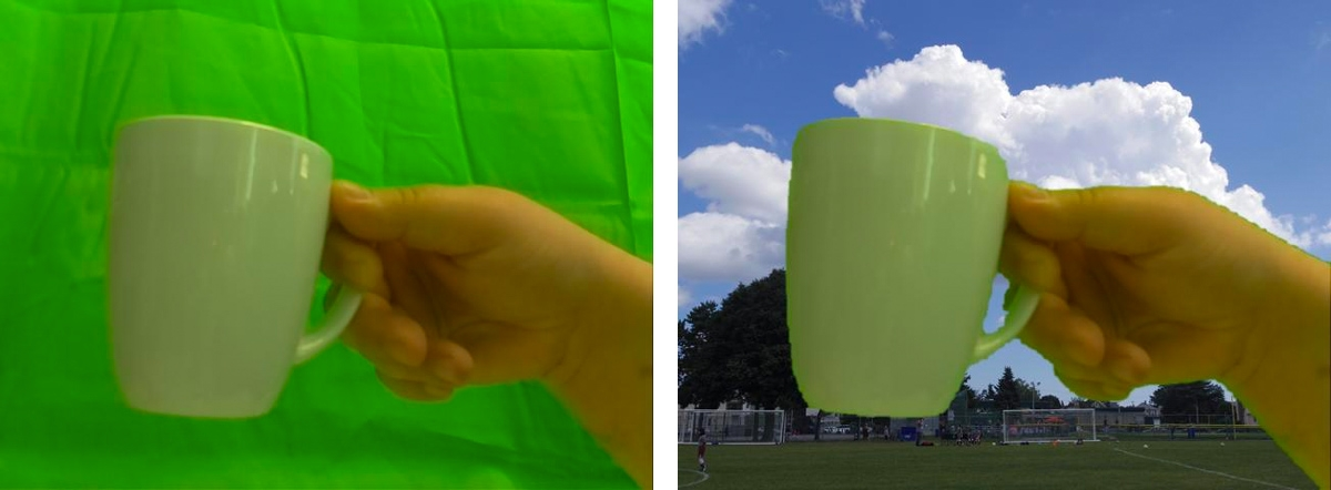 Figure 3. Original image, and image obtained after running the chroma keying algorithm.