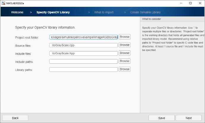 Angeben von Dateispeicherorten für die OpenCV-Bibliothek.