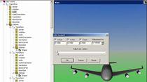 Animieren Sie die dreidimensionale Bewegung eines 747-Flugzeugs entlang einer spiralförmigen Flugbahn.
