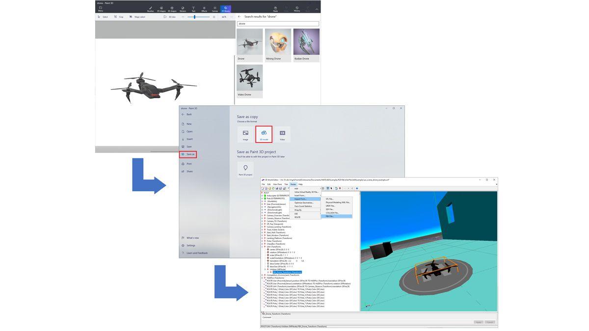 Drohne, die aus einer Paint 3D-Bibliothek importiert, als FBX-Datei gespeichert und in eine 3D-Welt geladen wurde.