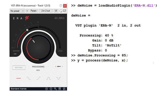 Links ist die Benutzeroberfläche eines handelsüblichen Audio-Plugins zur Audio-Geräuschunterdrückung mit großem Drehschalter zur Einstellung des Maßes an Geräuschunterdrückung. Rechts zeigen ein paar Codezeilen, wie dasselbe Plugin importiert und programmatisch als MATLAB-Objekt verwendet werden kann.