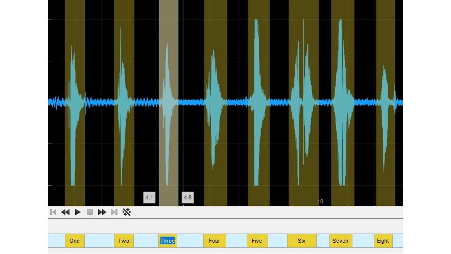 Kennzeichnungen für Bereiche von Interesse in der Audio Labeler-App.
