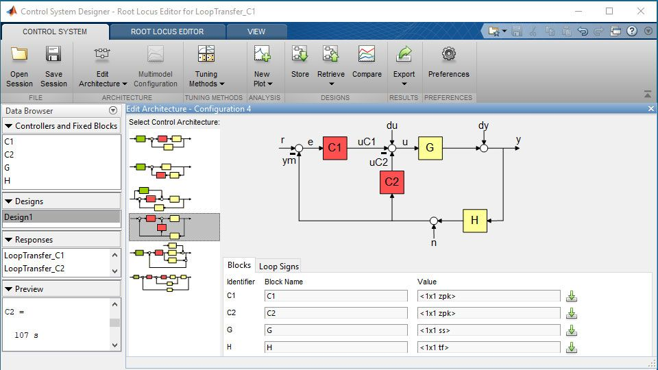 Entwurf der Architektur eines Steuerungs- und Regelungssystems mit mehreren Regelkreisen in Control System Designer