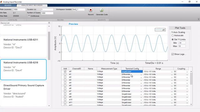Connect to data acquisition cards, devices, and modules with Data Acquisition Toolbox.