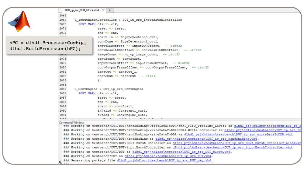 Die dlhdl.BuildProcessor-Klasse generiert synthetisierbare RTL aus dem benutzerdefinierten Deep Learning-Prozessor.