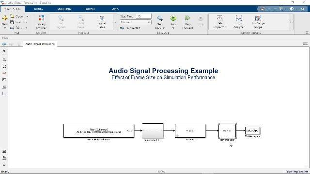 Lernen Sie die Anwendung von Frame-based Processing in Simulink zur Beschleunigung von Modellsimulationen und zur Nachahmung des Verhaltens von Echtzeitsystemen.