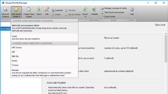 Fügen Sie Clusterprofile zu MATLAB hinzu, um den Zugriff auf verfügbare Clusterressourcen zu gestatten.