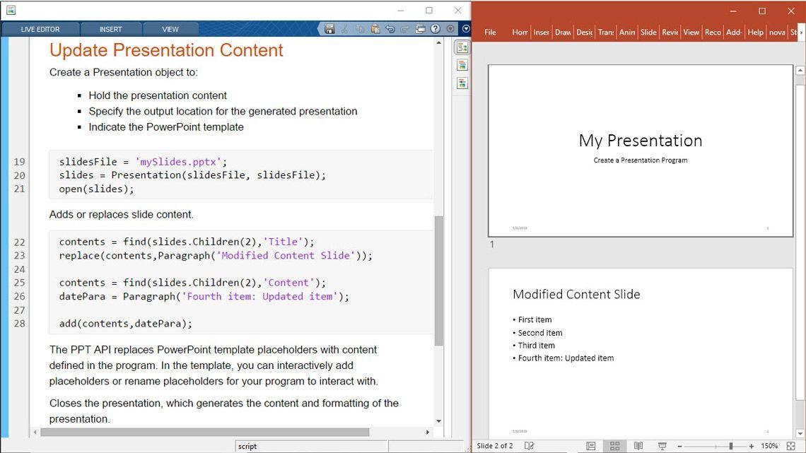 Aktualisierung von Präsentationsinhalten aus MATLAB.