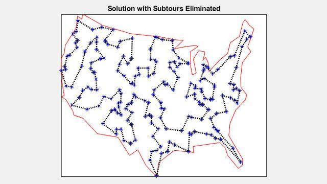 Lösung des Problems des Handlungsreisenden für 200 Städte