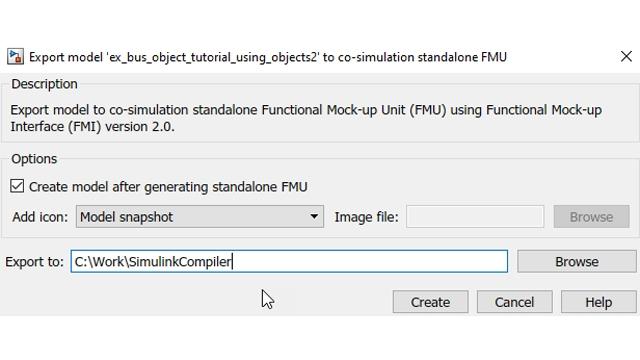 Option, die FME nach der Erstellung automatisch wieder in Simulink zu integrieren.