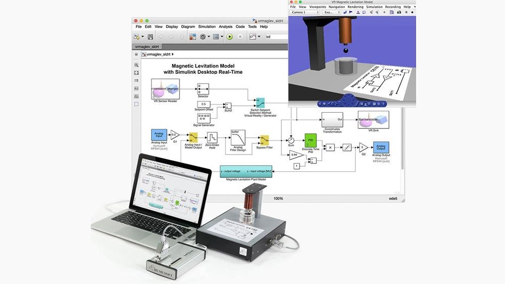 Ein Regelungsexperiment zur Magnetschwebetechnik. Das Modell  wird über analoge Eingang- und Ausgangsblöcke mit externer Hardware verbunden.