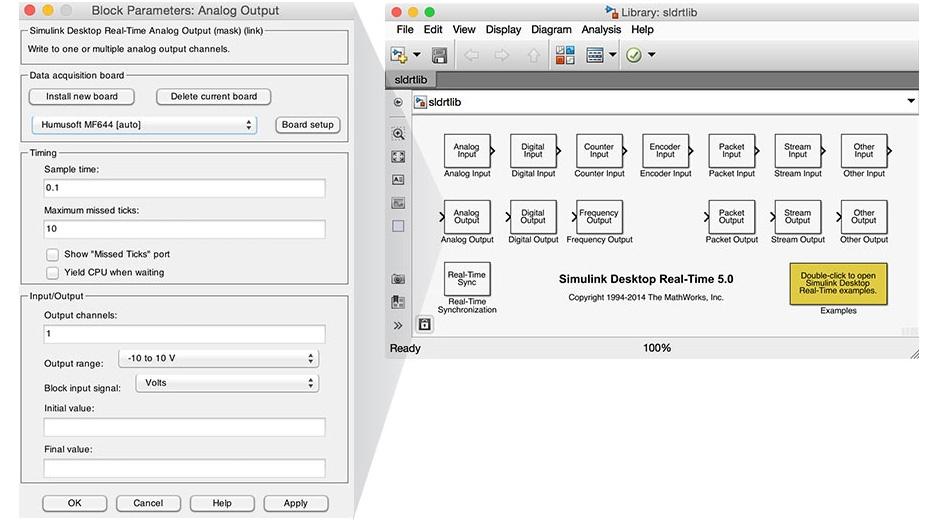 Simulink Desktop Real-Time Blockbibliothek.