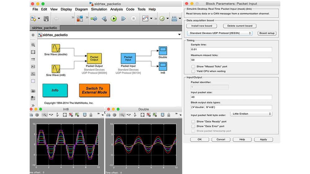 Konfiguration von Stream Input- und Stream Output-Blockparameter für ein Modell.