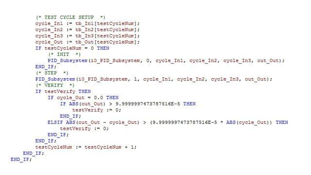Ein Test-Harnisch, der erzeugt wurde, um zu verifizieren, ob die Ergebnisse der Modellsimulation und die Ausführungsergebnisse des strukturierten Texts und des Kontaktplans innerhalb eines akzeptablen Toleranzbereichs übereinstimmen.