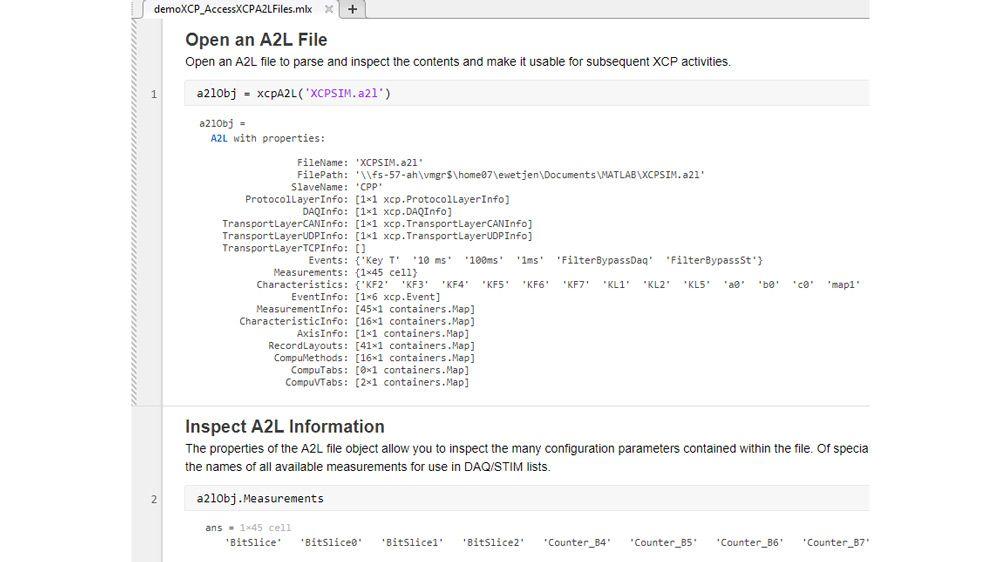 MATLAB-Funktion für das Parsen und Inspizieren von A2L-Dateien.