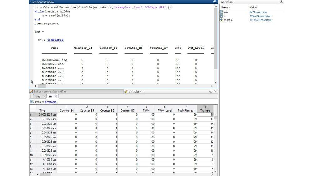 MATLAB-Schnittstelle zum Inspizieren von MDF-Dateien mit der Vorschaufunktion und dem Variablen-Editor.