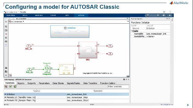 Erfahren Sie mehr über die erweiterte Simulink-Unterstützung für AUTOSAR-Funktionen zur Modellierung von AUTOSAR Classic- und Adaptive-Softwareanwendungen, Entwicklung von AUTOSAR-Softwarearchitekturen, Simulierung von AUTOSAR-Kompositionen und -Steuergeräten sowie Generierung von C/C++ Produktionscode.