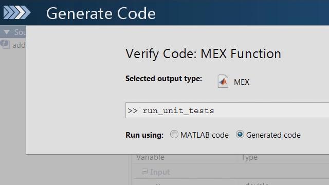 Nutzen Sie das MATLAB Unit Testing Framework, um zu überprüfen, ob Veränderungen an Ihrem MATLAB-Code zum Fehlschlagen von Unit Tests für den C-Code führen, der von MATLAB Coder generiert wurde.