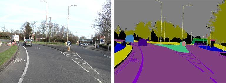 Semantische Segmentierung – Kennzeichnung einer Szene auf einer Fernstraße