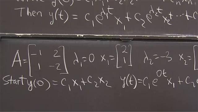 <em>d</em><strong>y</strong><em>/dt = A</em><strong>y</strong> contains solutions <strong>y</strong> <em>= e<sup>λt</sup></em><strong>x</strong>&nbsp;where <em>λ</em> and <strong>x</strong> are an eigenvalue / eigenvector pair for <em>A</em>.