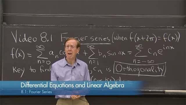 A Fourier series separates a periodic function <em>F(x)</em> into a combination (infinite) of all basis functions cos(<em>nx)</em> and sin(<em>nx)</em>.