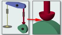 Add contact forces to a cam-follower mechanism modeled in SimMechanics. Adjust the cam profile using MATLAB to vary the valve lift.
