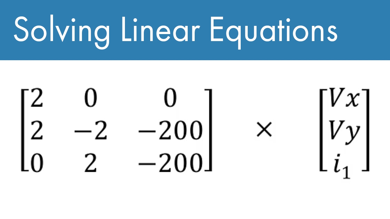 This is one in a series of videos covering MATLAB basics. It is meant for the new MATLAB user. This video covers how to convert two equations into matrix form and then solve them in MATLAB. This is one of the most basic problems in linear algebra. It