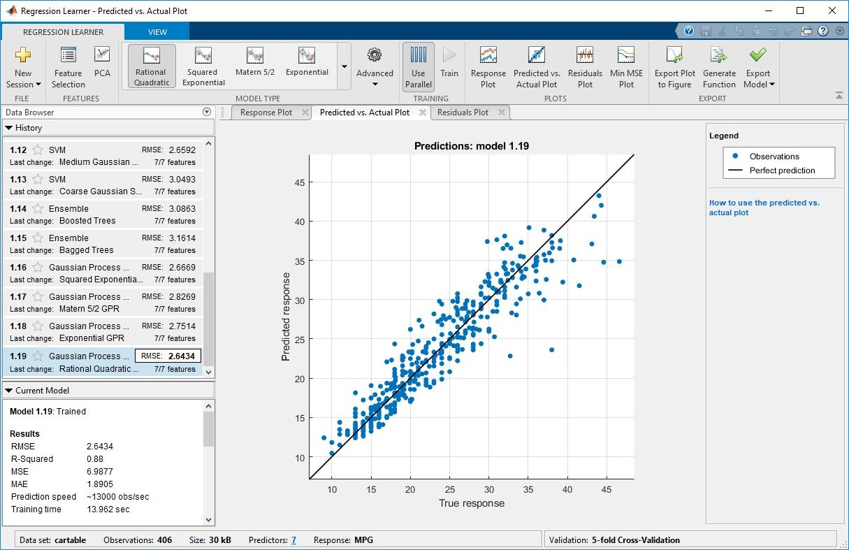 Regression Learner app for training