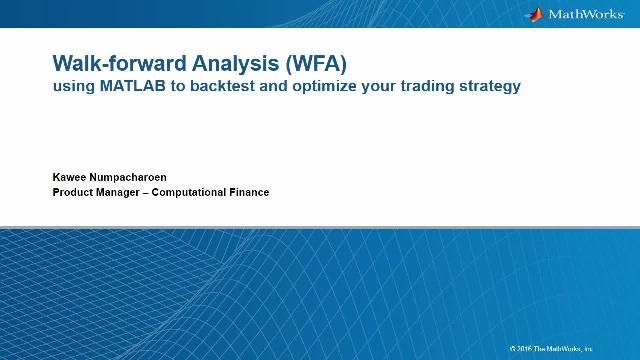 Learn how MATLAB can support the prototyping and development of walk-forward analysis in order to backtest your trading ideas, from getting market data, to implementing trading strategy, to testing framework, to receiving performance analytics.