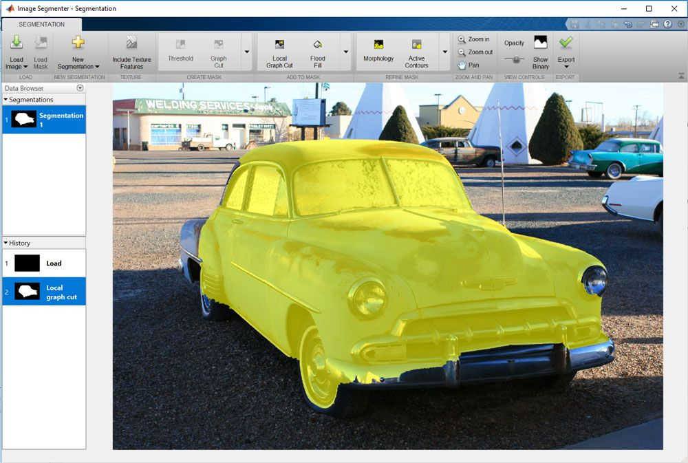 Using Image Segmenter App to interactively apply different segmentation techniques.
