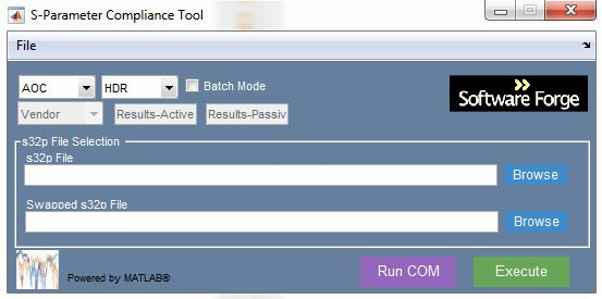 Figure 1.  The S-Parameter Compliance Tool interface.
