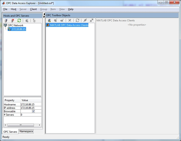 The OPC Data Access Explorer app in MATLAB