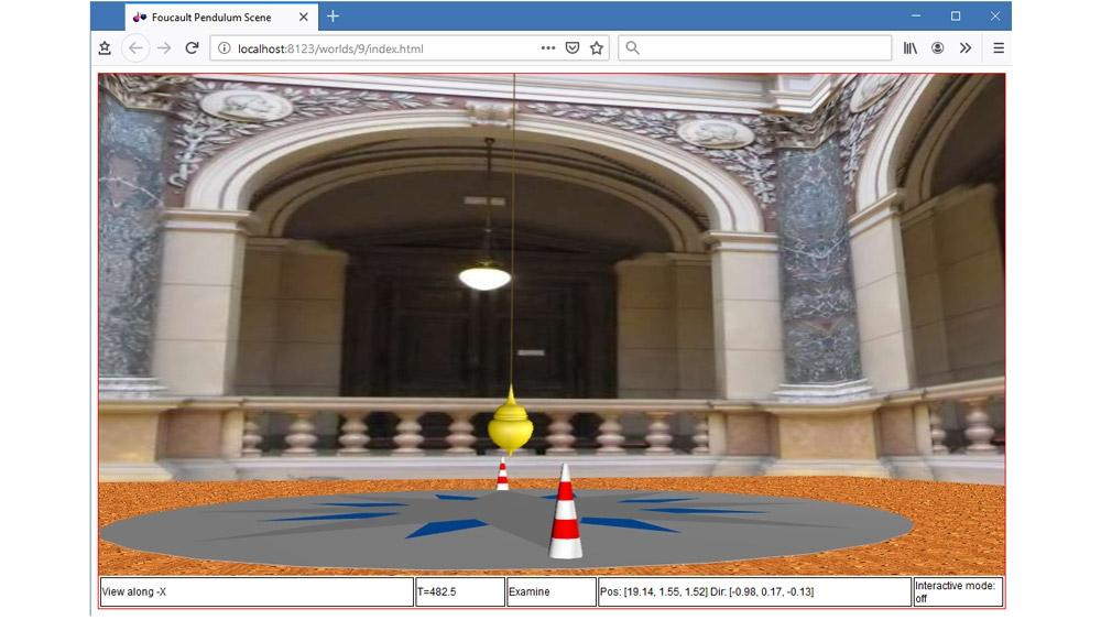 Animation 3D d'un pendule de Foucault dans un navigateur HTML5.